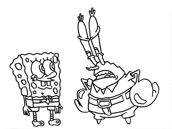 Mr Krabs is Disappointed to SpongeBob Coloring Page
