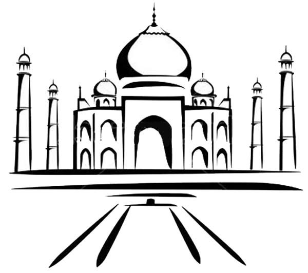 Painting of Taj Mahal Coloring Page