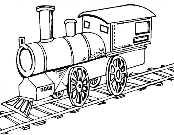 Picture of Old Steam Train Locomotive Coloring Page