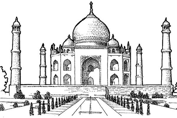 Picture of Taj Mahal Southern View Coloring Page