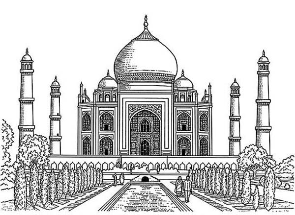 taj mahal outline drawing