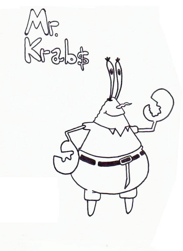 Sketch of Mr Krabs Coloring Page