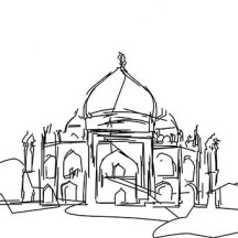 Sketch of Taj Mahal Coloring Page