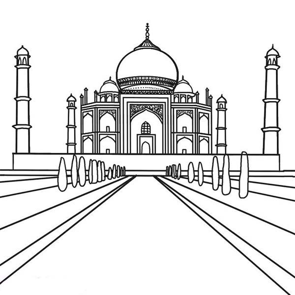 Southern View of The Taj Mahal Coloring Page
