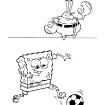 SpongeBob SquarePants and Mr Krabs Playing Football Coloring Page