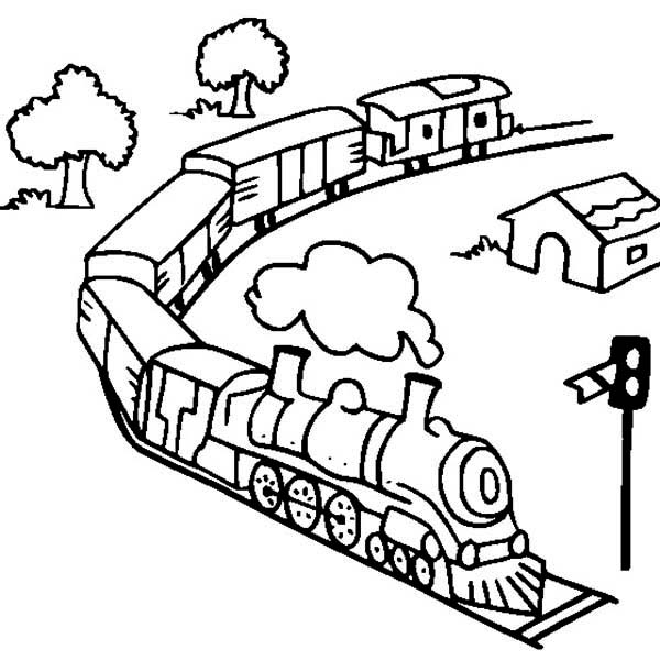 Steam Train Model Coloring Page
