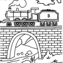Steam Train Over the Bridge Coloring Page