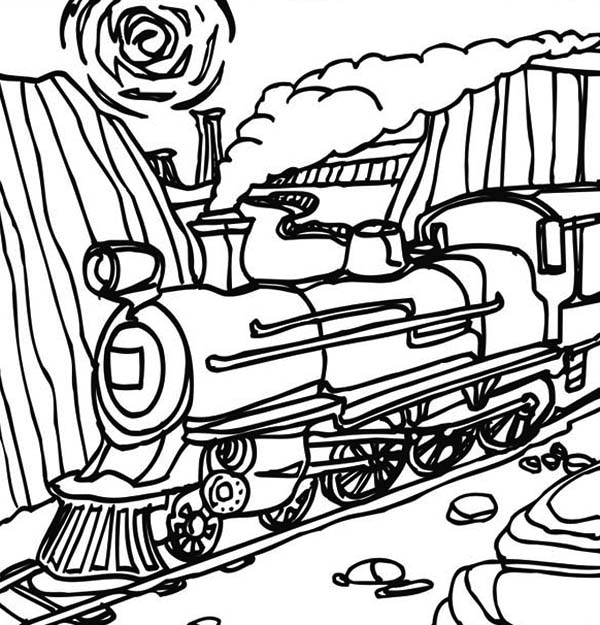 Steam Train Passing Through Mountain Coloring Page