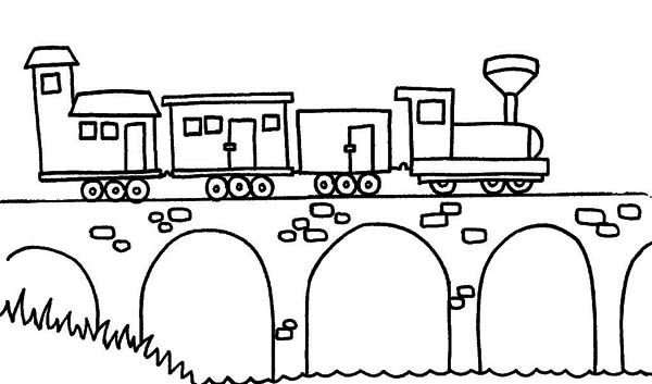 Steam Train Passing the Bridge Coloring Page