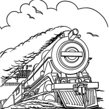 Steam Train Run in Speed Coloring Page