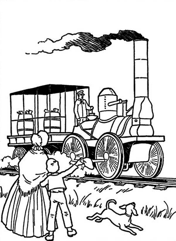 Steam Train in Early American Coloring Page