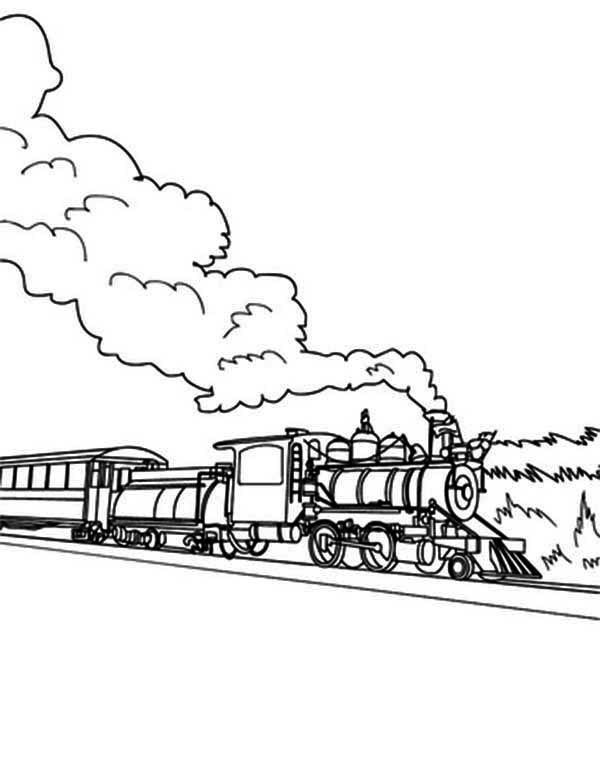 Steam Train is Old Times Transportation Coloring Page