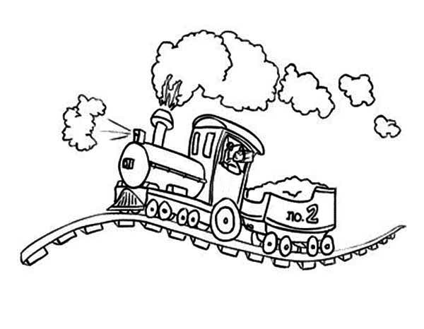 Steam Train on Bumpy Rail Coloring Page