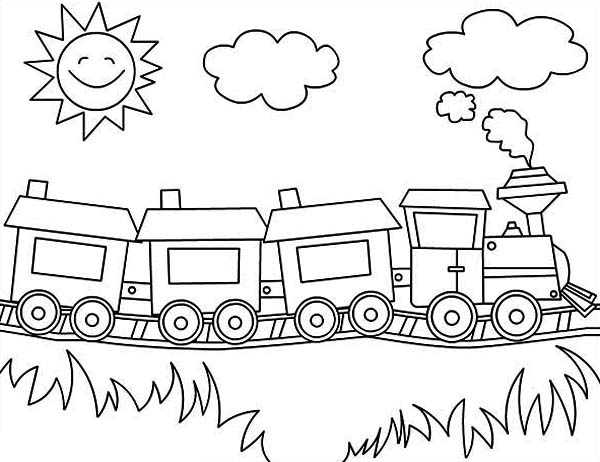 Steam Train on Sunny Day Coloring Page