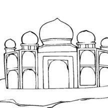 Story of Shah Jahan and Mumtaz Mahal in Taj Mahal Coloring Page