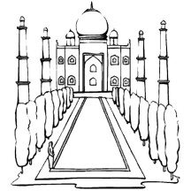 Taj Mahal India Coloring Page