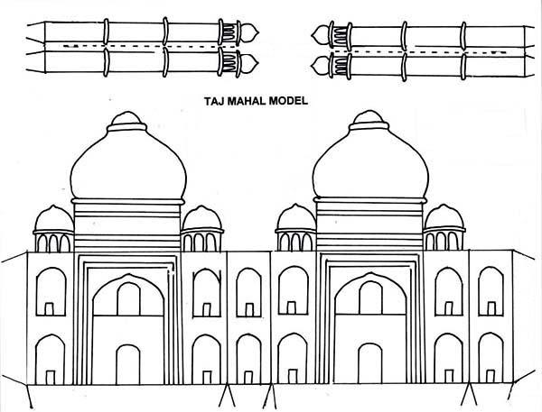 Taj Mahal Paper Craft Coloring Page