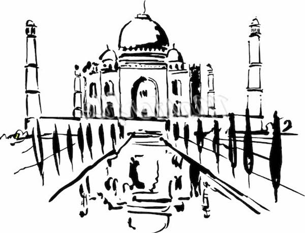 Taj Mahal Post Card Coloring Page