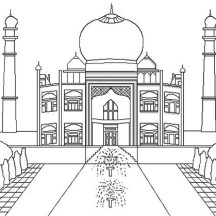 Taj Mahal The Jewel of Muslim Art in India Coloring Page