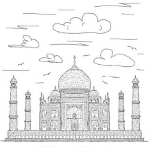 Taj Mahal at Cloudy Day Coloring Page
