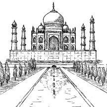 Taj Mahal in Agra India Coloring Page
