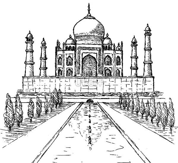 Taj Mahal in Agra India Coloring Page