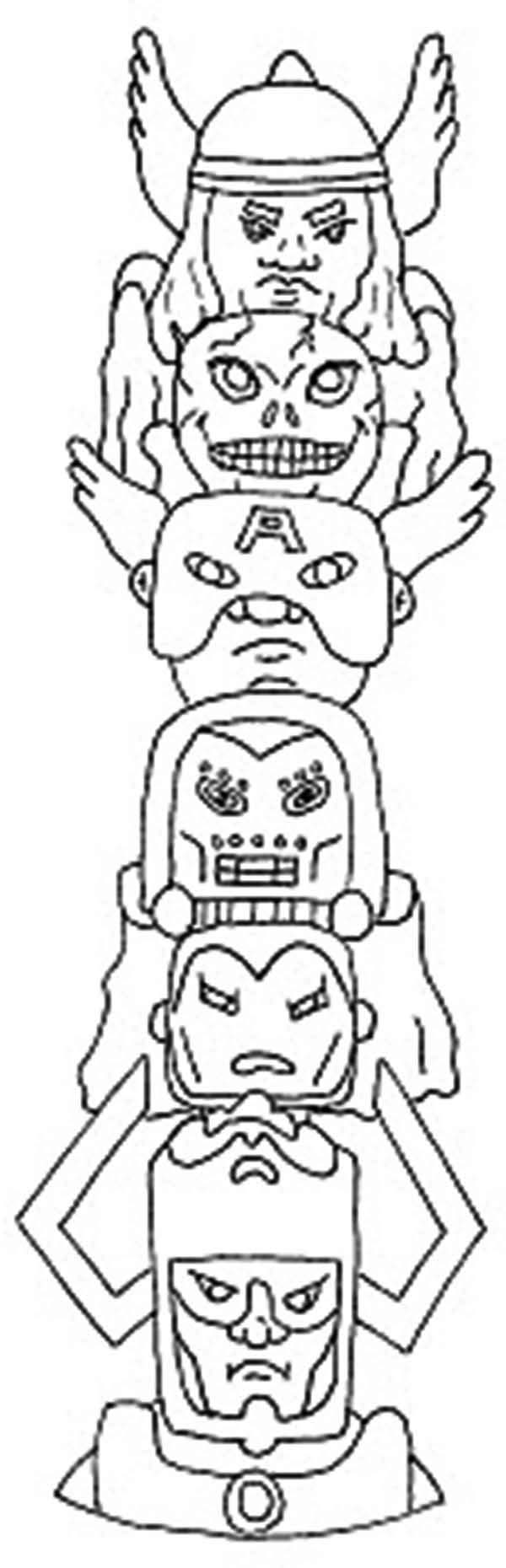 Download Avengers Coloring Pages Here Blackwidow: The Avengers Totem Poles Coloring Page