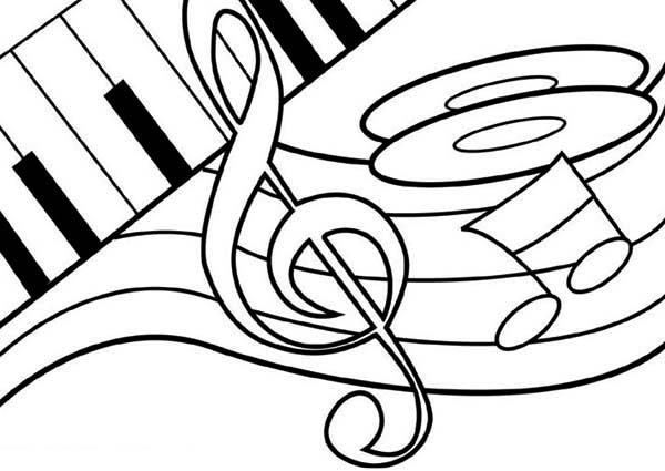 Treble Clef Dancing on a Piano Coloring Page