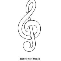 Treble Clef Stencil Coloring Page