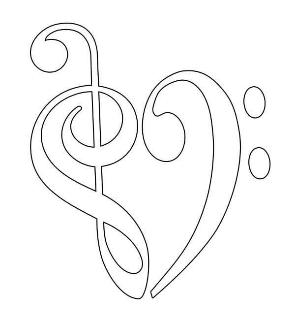 Treble Clef and Bass Forming Heart Coloring Page