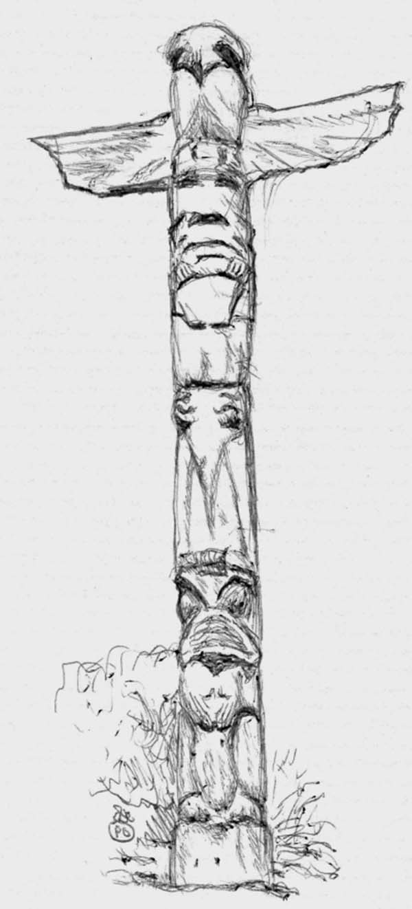 Tribe Pride Totem Poles Coloring Page