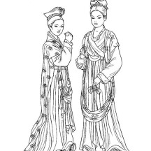 Two Beautiful Ladies in Ancient China Gown Coloring Page