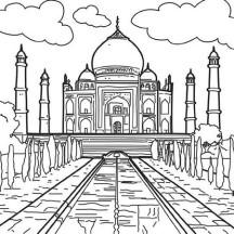 White Marble Mauseleom of Taj Mahal Coloring Page