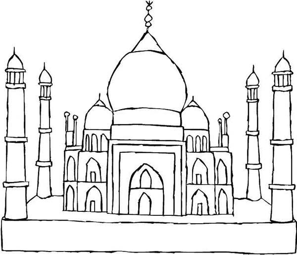 World Heritage Site Taj Mahal Coloring Page