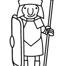 A Cartoon Drawing of Roman Soldier from Ancient Rome Coloring Page