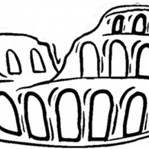 A Drawing of Ancient Rome Amphitheater Coloring Page
