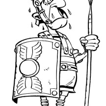 A Figure of Roman Soldier in Comic Coloring Page