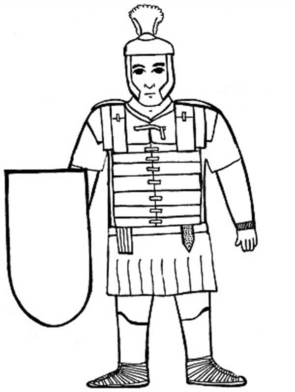 a kids drawing of ancient rome soldier coloring page