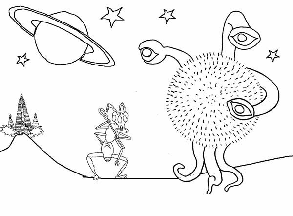 Alien Come from Saturn Coloring Page