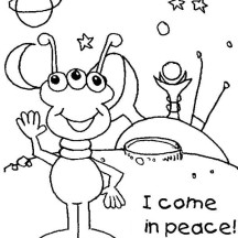 Alien Come to Earth in Peace Coloring Page