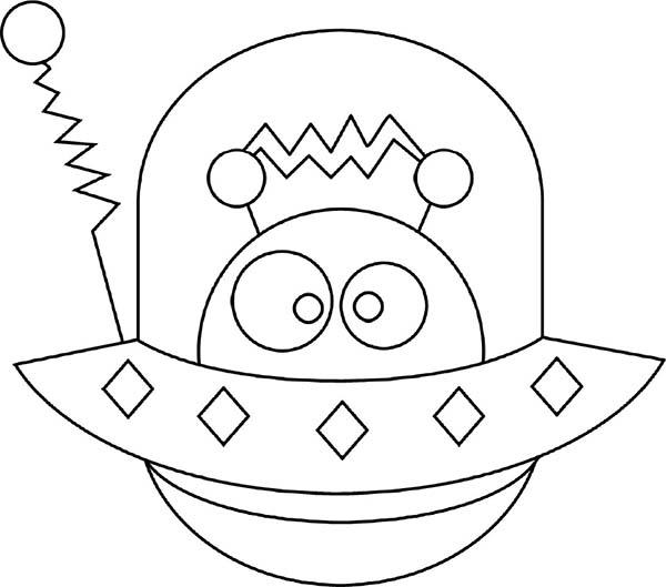 Alien Hide in Spaceship Coloring Page