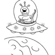 Alien Ride UFO Coloring Page
