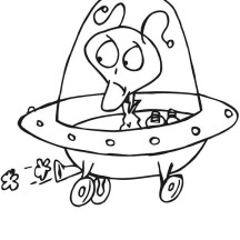 Alien Spaceship not Working Well Coloring Page