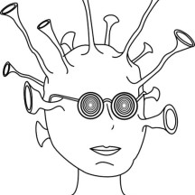 Alien with so Many Ears Coloring Page