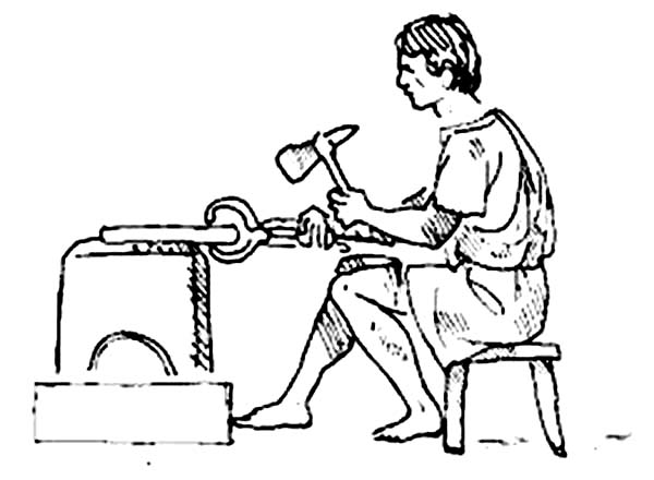 An Ancient Rome Craftman Making a Weapon Coloring Page
