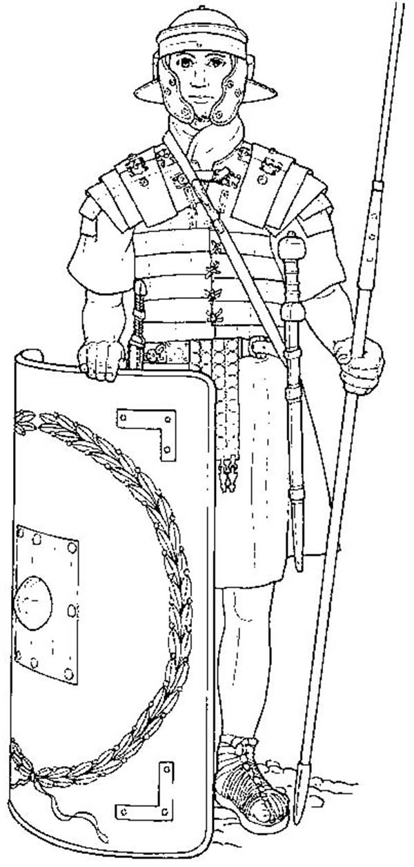 An Elite Roman Soldier and His Equipments Coloring Page