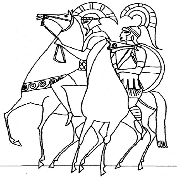 Ancient Rome Army in Classic Greek Style Drawing Coloring Page