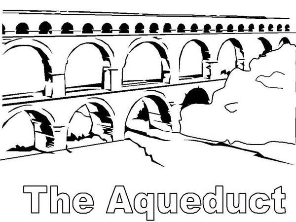 Classic Ancient Rome Aquaduct Coloring Page