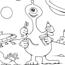 Four Handed Alien Brushing Teeth Coloring Page