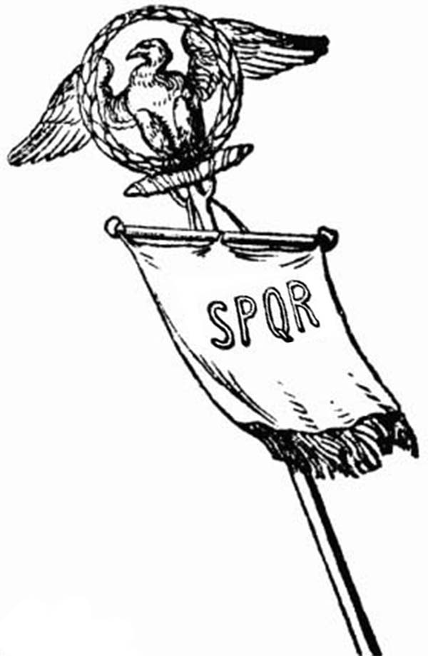 ancient roman coloring pages | SPQR Vexillum of Ancient Rome Army Coloring Page - NetArt